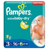Scutece Pampers active baby-dry 3 midi giant pack 96 buc pentru 4-9 kg