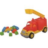 Masinuta Ucar Toys pompieri cu 36 piese constructie 30 cm