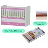 Pachet Patut Ilbambino Kalina white pink cu sertar si Saltea