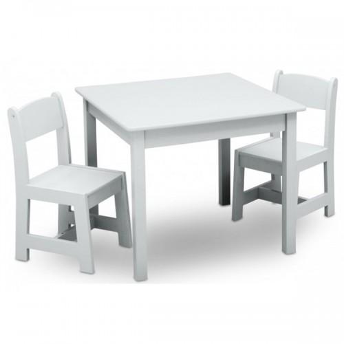 set masuta si 2 scaunele delta children premium white