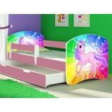 Pachet Patut MyKids Rainbow Unicorn cu sertar si Saltea 140x70 cm