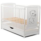Patut copii din lemn Babyneeds Timmi 120x60 cm alb cu sertar