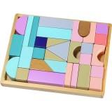 Cuburi din lemn Ecotoys cu suport tava