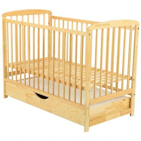 Patut copii din lemn Babyneeds Ola 120x60 cm natur cu sertar
