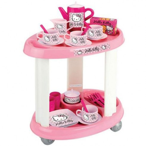 Carucior Ecoiffier cu set ceai Hello Kitty