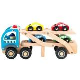 Camion trailer Ecotoys TL26046 cu 4 masini din lemn