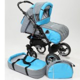 Carucior Baby Merc Junior Plus 2 in 1 Light grey turqoise