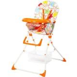 Scaun de masa Kidcity Niami Mamakids cu cadru alb portocaliu cu stelute