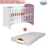 Pachet Patut Hubners Anne alb-roz cu Saltea Cocos Confort II 120x60x10 cm
