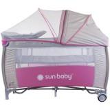 Patut pliabil cu sistem de leganare Sun Baby Sweet Dreams roz