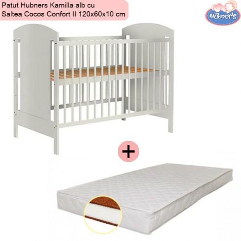 Pachet Patut Hubners Kamilla alb cu Saltea Cocos Confort II 120x60x10 cm