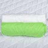 Set 2 x Cearsaf BabyNeeds cu elastic 120x60 cm Verde si Alb