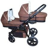 Carucior gemeni PJ Baby Tandem 2 in 1 PJ Stroller Lux brown