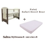 Patut Klups Safari Sweet Bear si Saltea MyDreams 120x60x8 cm