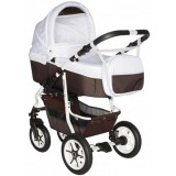 Carucior Pj Baby Pj Stroller Comfort 3 in 1 white brown