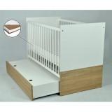 Patut Drewex New York alb cu sertar si Saltea Cocos 120x60x12 cm