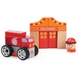 Jucarie Bino Sectie de Pompieri cu Masina Pompier