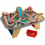 Pista Trenulet KidKraft Waterfall Junction cu masa de joaca