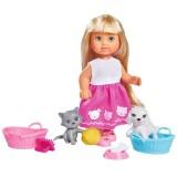 Papusa Simba Evi Love Dog & Cat papusa 12 cm cu catel, pisica si accesorii {WWWWWproduct_manufacturerWWWWW}ZZZZZ]
