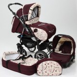 Carucior Baby Merc Junior Plus 3 in 1 Dark red flowers