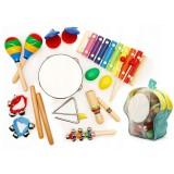 Set muzical din lemn Ecotoys MA01 10 instrumente