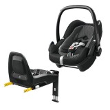 Pachet Scaun auto Maxi Cosi Pebble Plus I-Size black raven cu baza auto 2wayFix