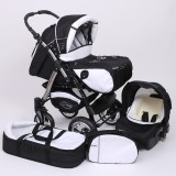 Carucior Baby Merc Junior Plus 3 in 1 Black white