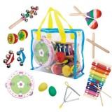 Set muzical Ecotoys cu 14 instrumente si geanta