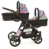 Carucior gemeni PJ Baby Tandem 2 in 1 PJ Stroller Lux multicolor