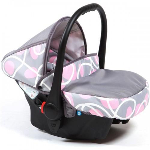 Scaun auto Kidcity Camarade gri cu cercuri roz