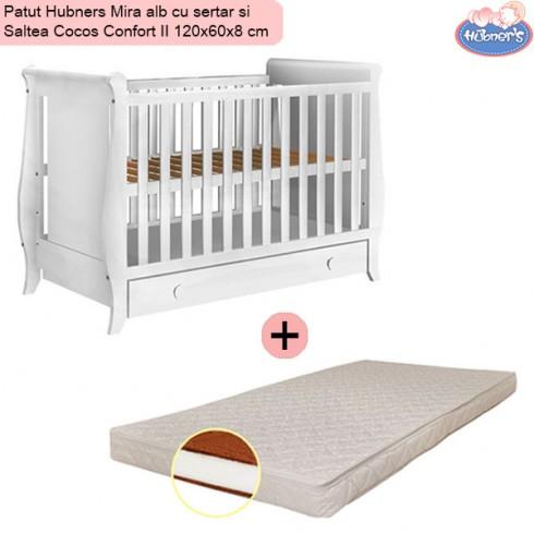 Pachet Patut Hubners Mira alb cu sertar si Saltea Cocos Confort II 120x60x8 cm