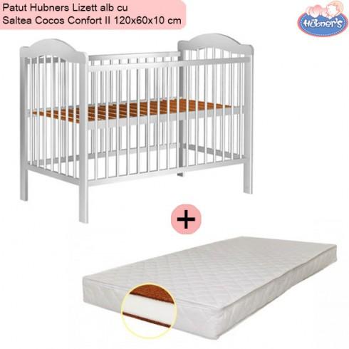 Pachet Patut Hubners Lizett alb cu Saltea Cocos Confort II 120x60x10 cm