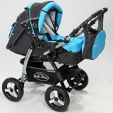Carucior Baby Merc Junior 2 in 1 charchoal grey turqoise