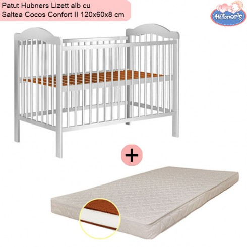 Pachet Patut Hubners Lizett alb cu Saltea Cocos Confort II 120x60x8 cm
