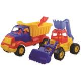 Set masinute Ucar Toys Autobasculanta si Buldoexcavator