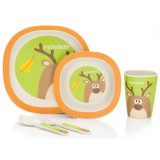 Set pentru luat masa Fillikid Bambus 4 piese green orange