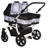 Carucior gemeni PJ Baby 2 in 1 PJ Stroller white city print