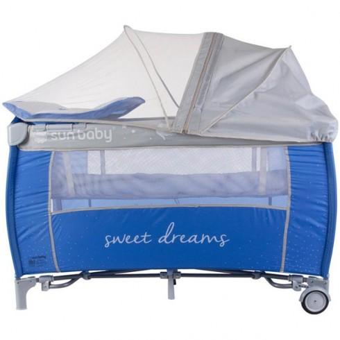 Patut pliabil cu sistem de leganare Sun Baby Sweet Dreams albastru