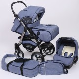 Carucior Baby Merc Junior Plus 3 in 1 Blue jeans