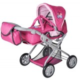 Carucior pentru papusi Knorrtoys Kyra 2 in 1 Pink With Butterfly