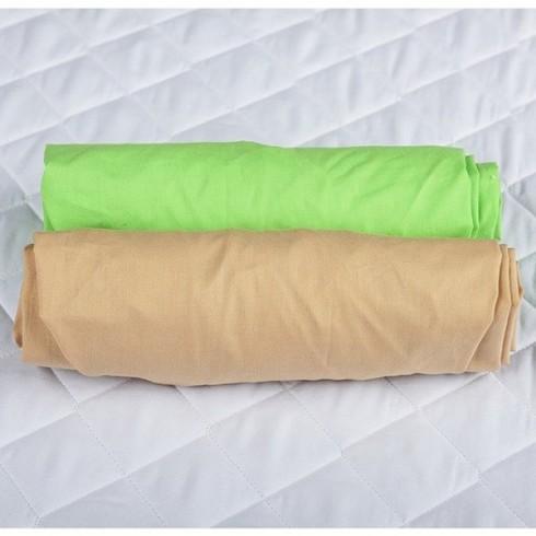 Set 2 x Cearsaf BabyNeeds cu elastic 120x60 cm Cappucino si Verde