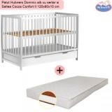 Pachet Patut Hubners Dominic alb cu sertar si Saltea Cocos Confort II 120x60x10 cm