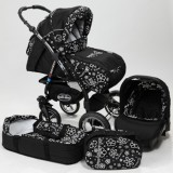 Carucior Baby Merc Junior Plus 3 in 1 Black flowers