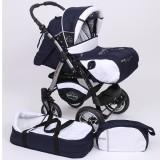 Carucior Baby Merc Junior Plus 2 in 1 Navy blue white