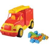 Masinuta Ucar Toys pompieri cu 38 piese constructie 43 cm
