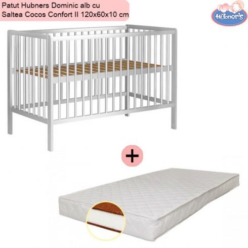 Pachet Patut Hubners Dominic alb cu Saltea Cocos Confort II 120x60x10 cm