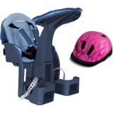 Scaun de bicicleta WeeRide SafeFront Deluxe si Casca protectie Flames albastru