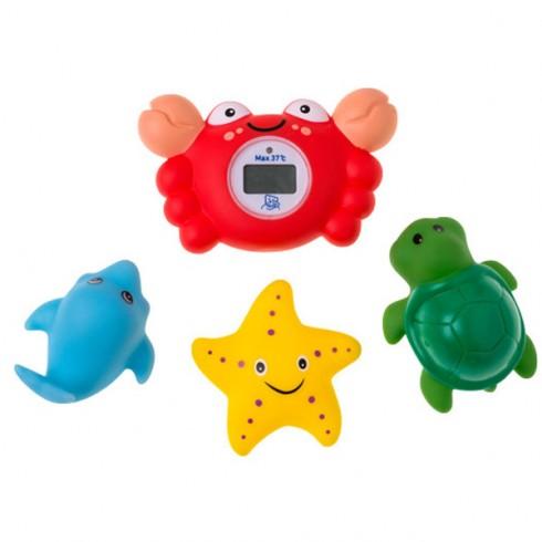 Termometru baie Rotho Baby Design Crab cu 3 jucarii de baie
