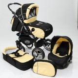 Carucior Baby Merc Junior Plus 3 in 1 Black yellow