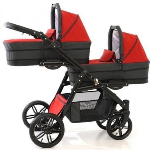Carucior Pj Baby Pj Stroller Lux 3 in 1 red